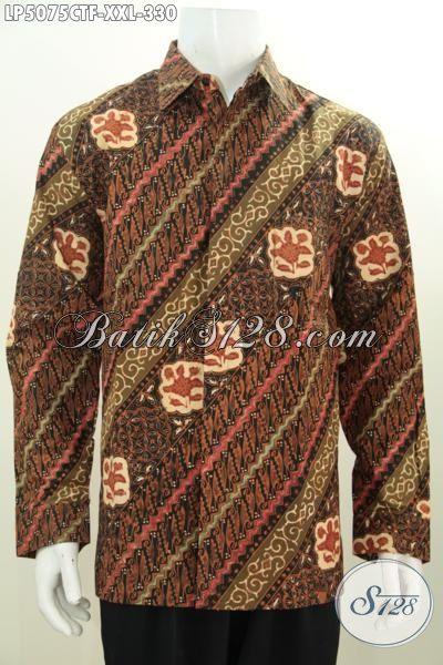 Kemeja Batik Parang Bunga Proses Cap Tulis, Busana Batik Elegan Kwalitas Premium Ukuran 3L Daleman Full Furing Cowok Gemuk Terlihat Gagah [LP5075CTF-XXL]