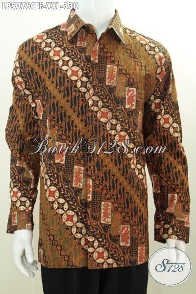 Hem 3L Bahan Batik Halus Motif Klasik, Pakaian Batik Pria Gemuk Lengan Panjang Pake Furing Lelaki Terlihat Gagah Berkarakter, Size XXL