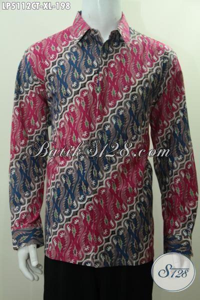 Sedia Pakaian Batik Lengan Panjang Modis Motif Parang Dengan Kombinasi Warna Modern Proses Cap Tulis Untuk Lelaki Dewasa Tampil Terlihat Beda, Size XL