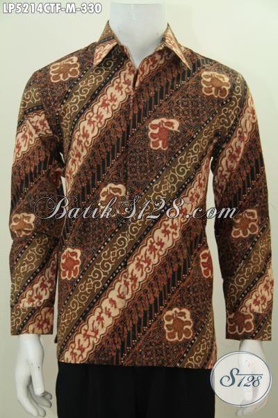 Pakaian Batik Kemeja Lengan Panjang Pake Furing, Busana Batik Elegan Motif Parang Bunga Proses Cap Tulis Tampil Lebih Berkelas, Size M