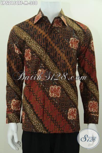 Baju Batik Parang Elegan Lengan Panjang Proses Cap Tulis, Kemeja Berkelas Daleman Pake Furing Tampil Lebih Gagah Dan Percaya Diri, Size M
