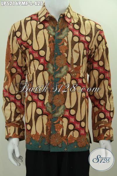 Hem Batik Parang Elegan Desain Formal Nan Mewah, Kemeja Batik Lengan Panjang Full Furing Berkelas Proses Kombinasi Tulis Tampil Makin Menawan, Size L