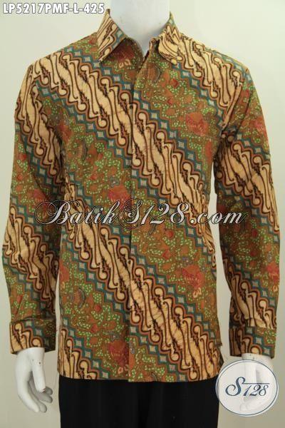 Kemeja Batik Klasik Kombinasi Tulis Motif Parang, Baju Batik Kwalitas Premium Lengan Panjang Pake Furing Tampil Gagah Dan Menawan, Size L