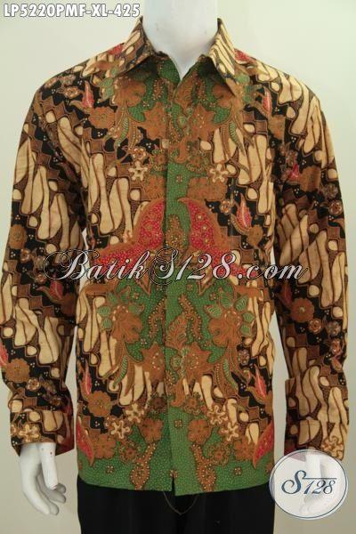 Baju Hem Mewah Halus Proses Kombinasi Tulis Motif Parang, Hem Batik Klasik Lengan Panjang Premium Daleman Full Furing Membuat Penampilan Lebih Berkarakter, Size XL