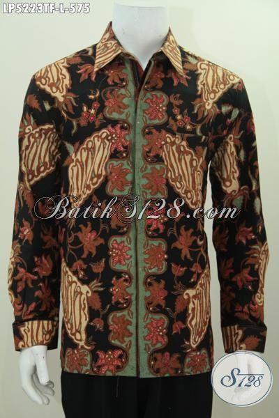 Baju Batik Hem Lengan Panjang Premium Proses Tulis Tangan, Kemeja Batik Full Furing Motif Mewah Penampilan Pria Lebih Menawan, Size L