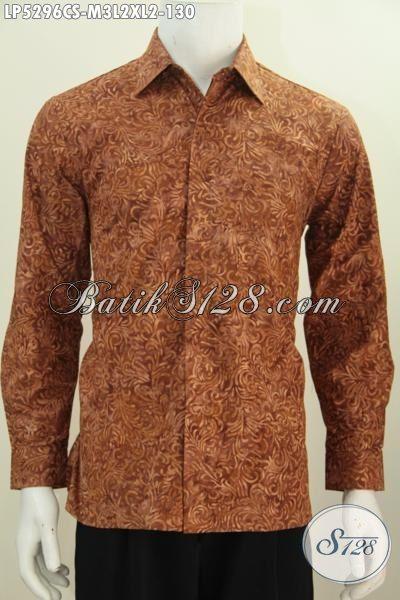Produk Pakaian Batik Pria Terbaru, Hadir Dengan Desain Lengan Panjang Warna Coklat Proses Cap Smoke Motif Unik Kwalitas Bagus Harga Terjangkau, Size M – L – XL