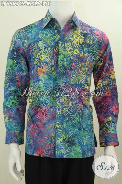 Batik Hem Lenga Penjang Halus Warna Gradasi Motif Trendy Proses Cap Smoke, Baju Batik Pria Muda Untuk Penampilan Lebih Keren Dan Gaya, Size M – L