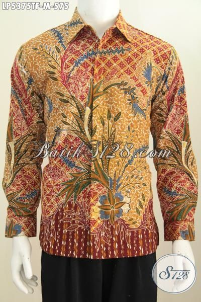 Kemeja Batik Premium Motif Mewah Model Lengan Panjang, Pakaian Batik Elegan Full Furing Kesukaan Executive Untuk Penampilan Lebih Berwibawa, Size M