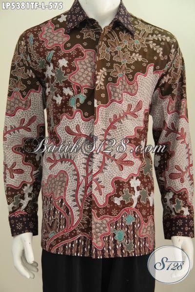 Baju Batik Lengan Panjang Istimewa Desain Motif Mewah Halus Proses Tulis Tangan, Batik Jawa Tengah Pake Furing Bikin Penampilan Lebih Gagah Mempesona, Size L