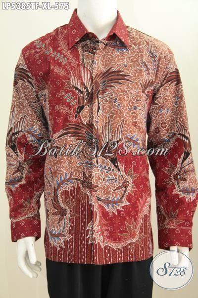 Hem Batik Merah Elegan Motif Bagus Berkelas, Jual Online Baju Batik Lengan Panjang Full Furing Proses Tulis Tangan Untuk Lelaki Dewasa Karir Sukses, Size XL