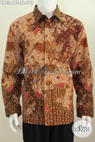 Kemeja Batik Istimewa Buat Pria Dewasa, Pakaian Batik Lengan Panjang Modis Untuk Rapat Motif Mewah Proses Tulis Tangan Buat Penampilan Lebih Menawan, Size XL