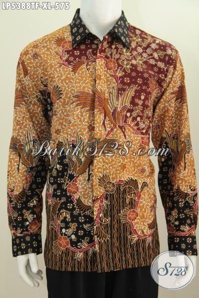 Kemeja Batik Pria Premium Halus Model Lengan Panjang, Baju Batik Berkelas Desain Motif Mewah Proses Tulis Daleman Full Furing untuk Penampilan Lebih Modis, Size XL