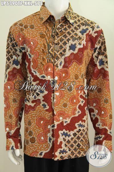 Pakaian Batik Halus Motif Mewah Proses Tulis Ukuran 3L, Produk Baju Batik Premium Lengan Panjang Full Furing Buat Lelaki Gemuk Terlihat Berwibawa, Size XXL