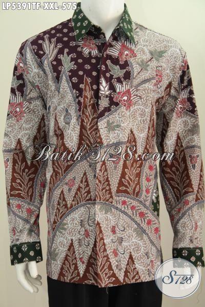 Busana Batik Lengan Panjang 3L, Produk Pakaian Batik Elegan Dan Mewah Proses Tulis Daleman Pake Furing Spesial Untuk Pria Berbadan Gemuk Terlihat Berwibawa [LP5391TF-XXL]
