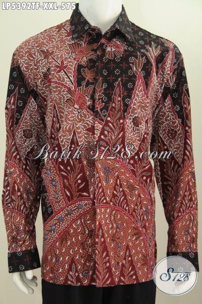 Baju Kemeja Batik Full Furing Model Lengan Panjang Istimewa, Busana Batik Halus Modis Buat Kerja Dan Dan Rapat Formal, Size XXL
