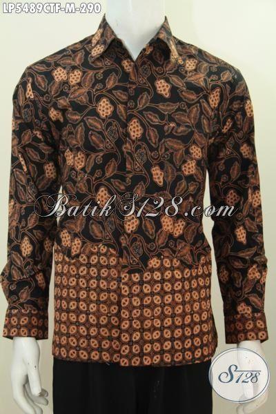 Baju Batik Lengan Panjang Full Furing Motif Klasik, Pakaian Batik Elegan Proses Cap Tulis Berkelas Buat Acara Formal, Size M