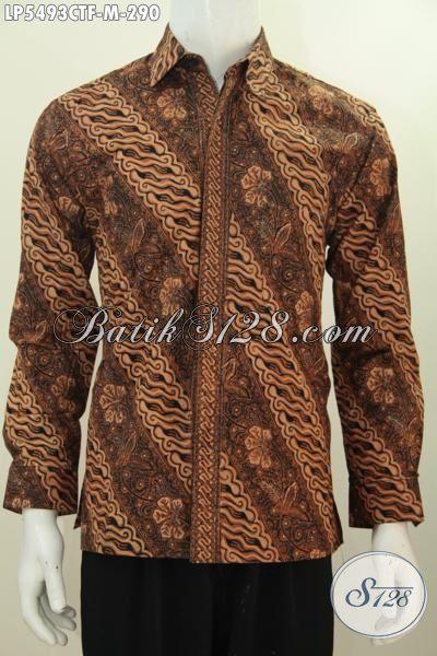 Jual Online Pakaian Batik Lengan Panjang Klasik Motif Parang Bunga, Busana Batik Berkelas Full Furing Proses Cap Tulis Bikin Pria Terlihat Gagah, Size M
