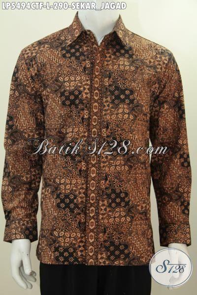 Busana Batik Klasik kwalitas Bagus Proses Cap Tulis Model Lengan Panjang Full Furing, Baju Batik Cap Tulis Mewah Buatan Solo Cowok Tampil Berkarakter, Size L