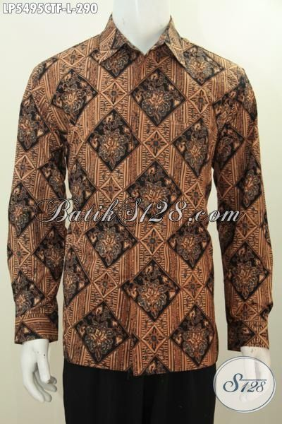 Baju Batik Cowok Model Lengan Panjang Motif Mewah, Pakaian Batik Full Furing Halus Proses Cap Tulis Hadir Dengan Harga 200 Ribuan, Size L
