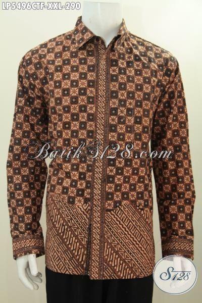 Hem Batik Klasik Kombinasi Dua Motif, Baju Batik Halus Warna Elegan Kwalitas Istimewa Model Lengan Panjang Pake Furing Ukuran Jumbo Proses Cap Tulis, Size XXL