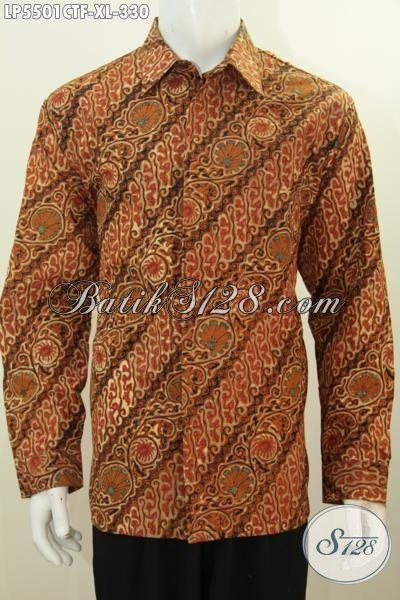 Jual Hem Batik Klasik Motif Parang Bunga Model Lengan Panjang, Baju Batik Full Furing Elegan Untuk Kondangan Dan Acara Resmi Tampil Lebih Gagah, Size XL
