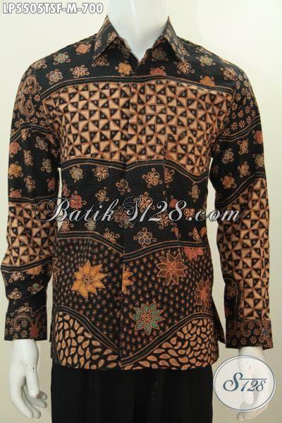 Kemeja Lengan Panjang Bahan Batik Tulis Soga Mewah Motif Bagus Daleman Full Furing, Baju Batik Istimewa Buat Pria Muda Yang Ingin Tampil Gagah Mempesona, Size M