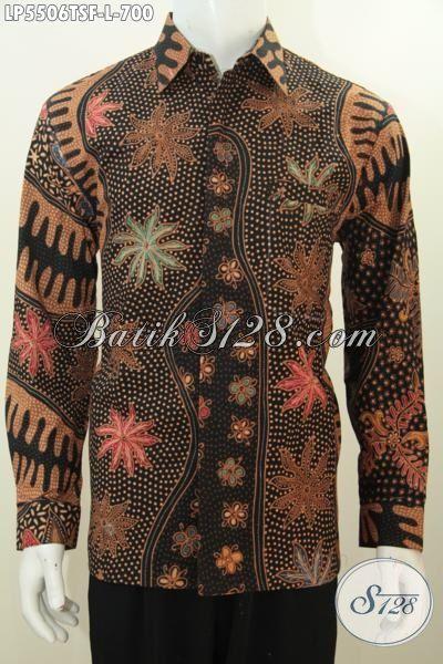 Kemeja Lengan Panjang Batik Premium Motif Terkini Proses Tulis Soga, Baju Batik Halus Daleman Full Furing Harga 700K Kesukaan Para Executive, Size L