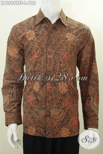 Baju Hem Batik Halus Motif Klasik Lengan Panjang Pake Furing, Produk Busana Batik Istimewa Proses Tulis Soga Mewah Harga Mahal Cocok Untuk Lelaki Dengan Karir Sukses, Size L