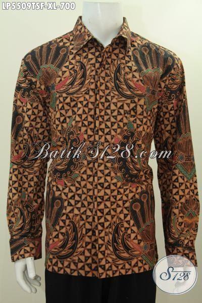 Baju Kemeja Batik Elegan Mewah Full Furing Motif Klasik Proses Tulis Soga, Busana Batik Kawa Etnik Yang Mampu Biki Pria Terlihat Gagah Dan Berwibawa, Size XL