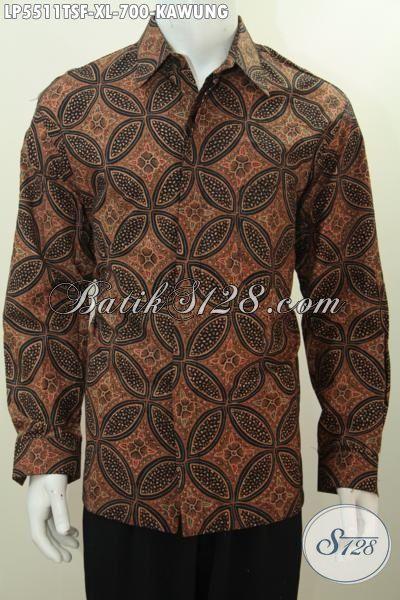 Baju Batik Istimewa Proses Tulis Tangan Pewarna Soga, Pakaian Batik Elegan Berkelas Model Lengan Panjang Full Furing Pria Terlihat Modis Dan Mempesona, Size XL