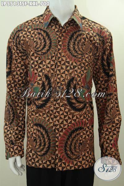 Baju Batik Jumbo Spesial Untuk Lelaki Gemuk, Busana Hem Batik Tulis Soga Lengan Panjang Motif Mewah Berkelas Dilengka Daleman Full Furing Tampil Makin Berwibawa [LP5513TSF-XXL]