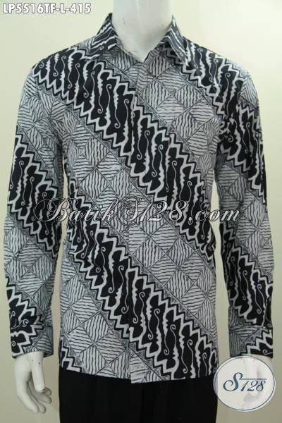 Hem Batik Lengan Panjang Pake Furing Motif Elegan Dan Mewah, Baju Batik Tulis Halus Kwalitas Istimewa Buat Pria Tampil Lebih Berwibawa, Size L