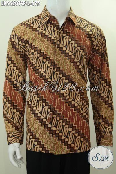 Kemeja Batik Premium Lengan Panjang Motif Parang, Baju Batik Tulis Soga Full Furing Ukuran L Pas Banget Untuk Rapat Dan Kondangan [LP5520TSF-L]