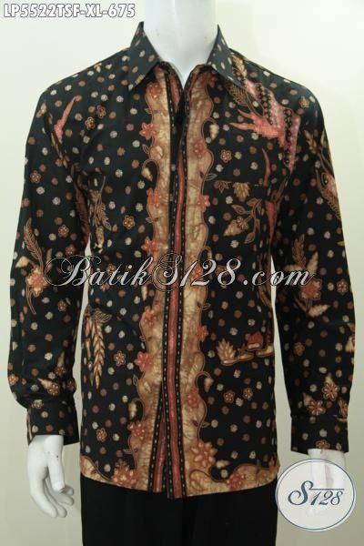 Jual Kemeja Batik Premium Istimewa Proses Tulis Soga Lengan Panjang, Pakaian Batik Motif Mewah Daleman Full Furing Motif Bagus Bikin Pria Terlihat Berkelas, Size XL