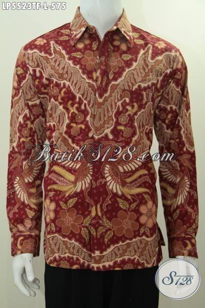 Baju Batik Mewah Warna Merah Desain Motif Terkini Yang Banyak Di Cari, Produk Baju Batik Tulis Premium Lengan Panjang Full Furing Pria Terlihat Makin Mempesona [LP5523TF-L]