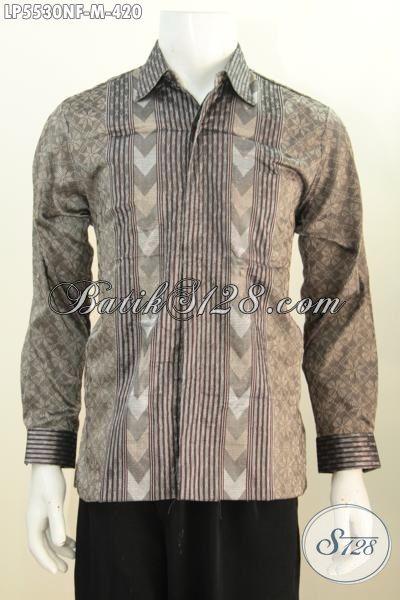 Produk Kemeja Tenun Lengan Panjang Istimewa Daleman Full Furing, Pakaian Tenun Berkelas Warna Abu-Abu Motif Mewah Tampil Gagah Bak Pejabat, Size M