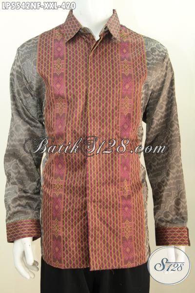 Baju Tenun Kwalitas Premium Buatan Jawa Tengah, Kemeja Tenun 3L Halus Model Lengan Panjang Full Furing Buat Pria Gemuk Terlihat Berwibawa [LP5542NF-XXL]