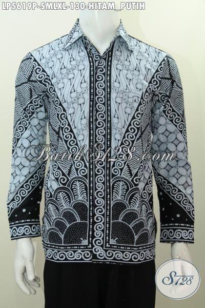 Kemeja Batik Klasik Proses Printing Warna Hitam Putih, Baju Batik Elegan Untuk Pria Muda Dan Dewasa Tampil Gagah Dan Terlihat Mempesona [LP5619P-XL]