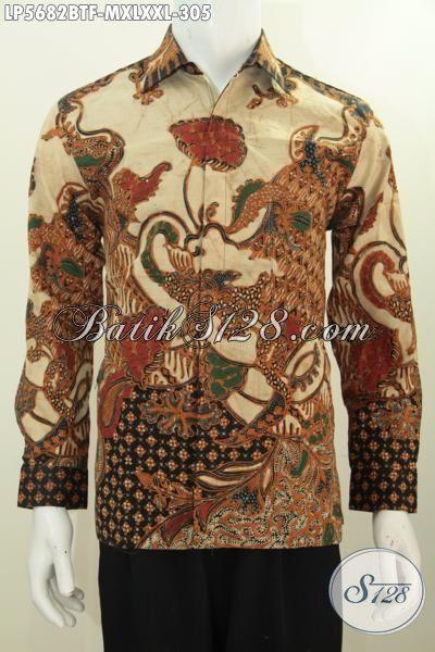 Baju Hem Batik Motif Mewah Proses Kombinasi Tulis Model Lengan Panjang Full Furing, Busana Batik Modis Berkelas Untuk Penampilan Lebih Gagah, Size M – XL – XXL