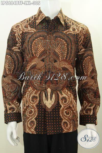 Toko Online Batik Jawa Tengah, Sedia Hem Lengan Panjang Halus Motif Klasik Daleman Full Furing, Busana Batik Elegan Untuk Pria Terlihat Gagah Dan Tampan, Size XL