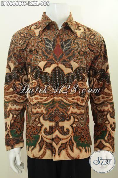 Kemeja Batik Cowok Kwalitas Halus Lengan Panjang Berbahan Adem Motif Mewah Kombinasi Tulis, Baju Batik Kerja Lelaki Masa Kini Tampil Lebih Mempesona, Size L – XL