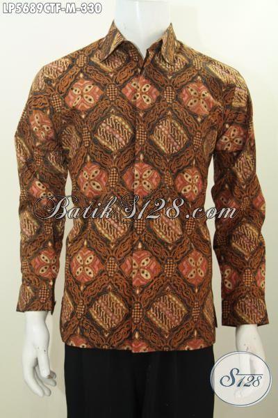 Kemeja Batik Lengan Panjang Kwalitas Premium Motif Bagus Proses Cap Tulis, Busana Batik Formal Buta Pria Tampil Gagah Cocok Untuk kondangan, Size M