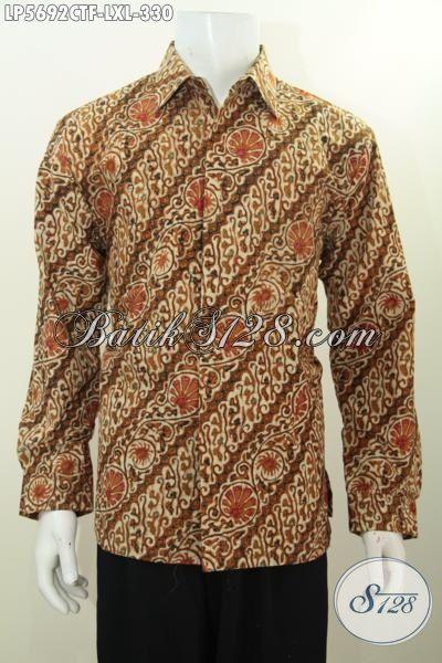 Hem Batik Parang Lengan Panjang Proses Cap Tulis, Busana Batik Kwalitas Premium Desain Formal Daleman Pake Furing Lebih Berkelas Dan Bagus, Size XL