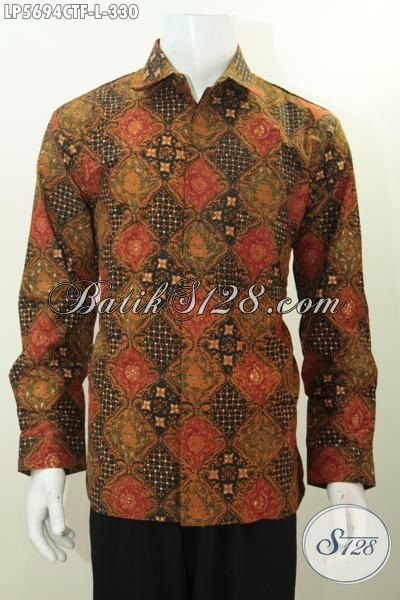 Kemeja Batik Desain Formal Lengan Panjang, BajuBatik Full Furing Motif Bagus Proses Cap Tulis Kwalitas Premium Harga 300 Ribuan [LP5694CTF-L]