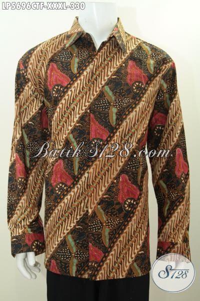 Kemeja Batik Jumbo Lengan Panjang Berkelas Motif Mewah Proses Cap Tulis, Pakaian Batik Pria Gemuk Cocok Untuk Acara Santai Dan Formal, Size XXL