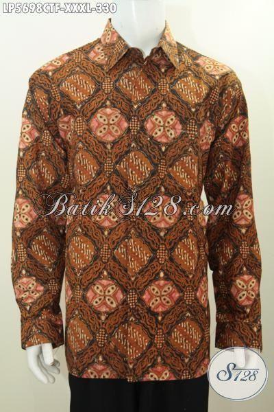 Baju Hem Batik Super Jumbo Ukuran 4L, Busana Batik Istimewa Lengan Panjang Full Furing Motif Klasik Cap Tulis Buat Pria Gemuk Terlihat Modis Dan Langsing [LP5698CTF-XXXL]