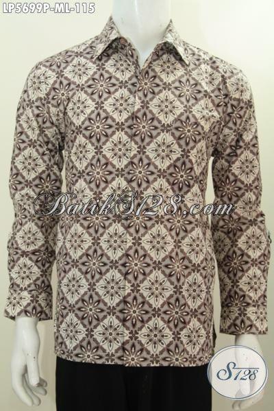 Kemeja Batik Elegan Motif Baguis Harga Murmer, Hem Lengan Panjang Batik Printing Warna Bagus Modis Untuk Kerja Dan Acara Resmi [LP5699P-L]