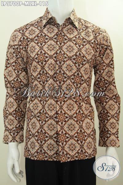Hem Batik Cowok Modis Lengan Panjang Motif Bagus Proses Printing, Pakaian Batik Istimewa Trend Masa Kini Untuk Penampilan Lebih Trendy Dan Gaya, Size M – L – XL