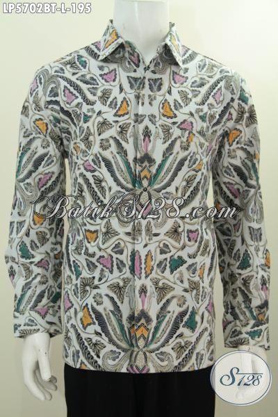 Hem Batik Lengan Panjang Proses Printing, Kemeja Batik Elegan Motif Klasik Warna Bagus Modis Untuk Kondangan, Size L