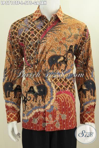Baju Batik Elegan Mewah Lengan Panjang Full Furing Motif Gajah, Busana Batik Full Furing Istimewa Buatan Solo Proses Tulis Tangan Merubah Penampilan Lebih Berkarakter, Size L